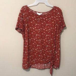 LC Conrad large red short sleeve blouse